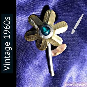 Vintage Artist's  Recycled Paintbrush Flower Pin